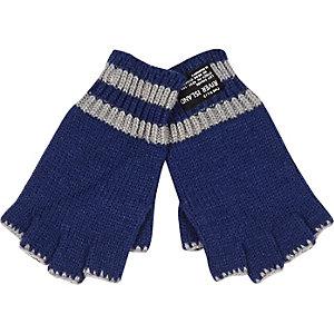 Boys blue fingerless gloves