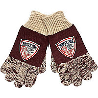 Boys red flecked badge gloves