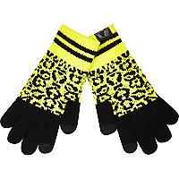 Boys yellow leopard print gloves