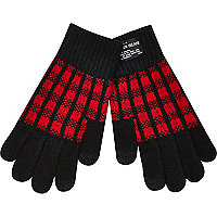 Boys red check gloves