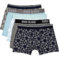 Boys blue RI logo 5 pack underwear