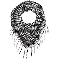 Boys black check scarf
