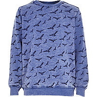 Boys blue burnout eagle print sweatshirt