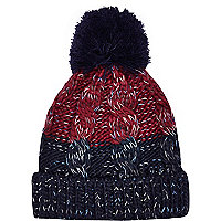 Boys navy chunky twist yarn beanie hat