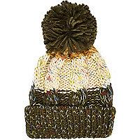 Boys khaki chunky twist yarn beanie hat