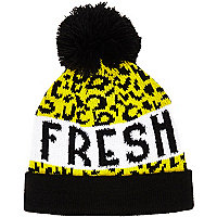 Boys yellow leopard print bobble hat