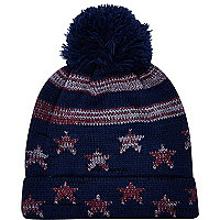 Boys navy star beanie hat