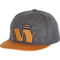 Boys grey felt NY crown snapback hat
