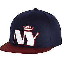 Boys navy felt NY crown snapback hat