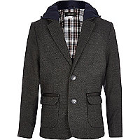 Boys brown smart hooded blazer