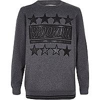 Boys grey Brooklyn leather sweatshirt
