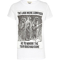 Boys white meerkat band print t-shirt