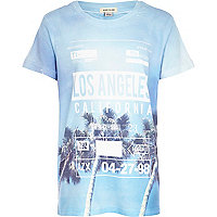 Boys blue California palm print t-shirt