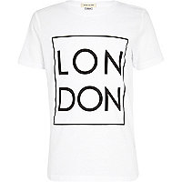 Boys white London square print t-shirt