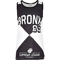 Boys black Bronx print mesh vest