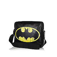 Boys black Batman logo print messenger bag