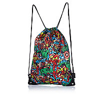 Boys black Marvel print gym bag