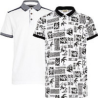 Boys white Egyptian and white yoke polo set