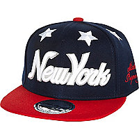 Boys navy NY star snapback hat