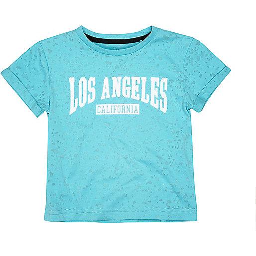 Mini boys aqua burnout LA t-shirt