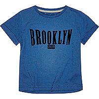 Mini boys navy burnout Brooklyn t-shirt