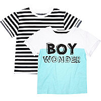 Mini boys white wonder/stripe t-shirt 2 pack