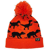 Boys orange dinosaur bobble hat