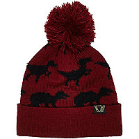 Boys dark red dinosaur bobble hat