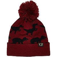 Boys dark red dinosaur bobble hat