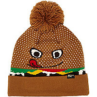 Boys brown burger bobble hat