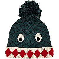 Boys green monster bobble hat