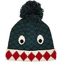 Boys green monster bobble hat