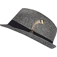 Boys grey feather trilby hat