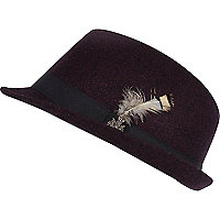 Boys dark purple feather trilby hat