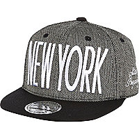 Boys black New York tweed snapback hat
