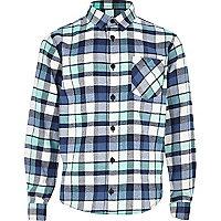 Boys blue and green check shirt