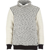 Boys grey flecked textured sweatshirt