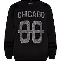 Boys black embedded Chicago sweatshirt