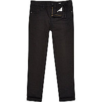 Boys black skinny plain trousers