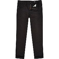 Boys black skinny plain trousers