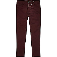 Boys red skinny plain trousers