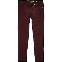 Boys red skinny plain trousers