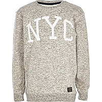 Boys grey flecked NYC sweatshirt