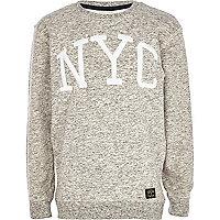 Boys grey flecked NYC sweatshirt