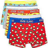 Boys red burgers and fries 5 pack underwear