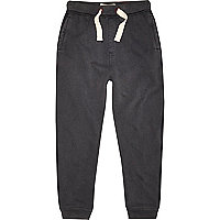 Boys black acid wash jersey joggers