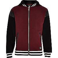 Boys red and black trim varsity hooded jacket