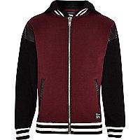Boys red and black trim varsity hooded jacket
