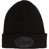 Boys black Batman beanie hat
