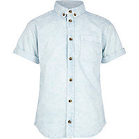 Boys blue acid wash shirt
